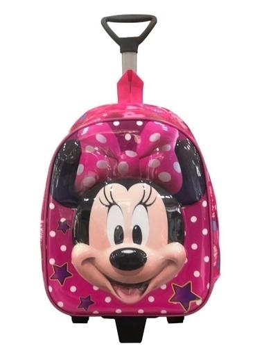 Bebebebek Pembe Mickey Mouse Okul Çantası- Çekçekli Kabartmalı Okul Çantası-35X25 Renkli